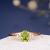 Peridot Engagement Ring Rose Gold Diamond Cluster Ring Oval Cut Promise Women Thin Multistone Bridal Wedding Ring Anniversary Gift for Her