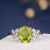 Oval Cut Engagement Ring White Gold Peridot Bridal Ring August Birthstone Wedding Diamond Butterfly Anniversary Antique Unique Flower Women