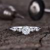 Forever One Moissanite Engagement ring White Gold Retro Vintage 5mm Round Moissanite Wedding Ring 0.5 carat with Diamond Bridal Ring 14K/18K