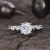 Forever One Moissanite Engagement ring White Gold 1 carat 6.5mm Round Cut with Diamond 14K/18K