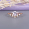 Vintage Women Pear Shaped Engagement Ring Rose gold Moonstone Wedding Set-HRa004