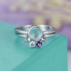 Rainbow Blue Moonstone Engagement Ring Set Curved Aquamarine Wedding Band