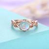 Milgrain Leaf Moonstone Engagement Ring Rose Gold Engagement Ring Women-HRa010