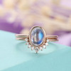 Vintage Antique Rainbow Moonstone Engagement Ring Set