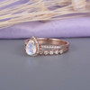 Pear Shaped Rose Gold Moonstone Vintage Bridal Set