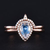 Moonstone Engagement Ring Vintage Rose gold  With Curved Wedding band -HRa017