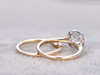 Moissanite Engagement Ring Set Diamond Wedding Bands Two Tone Gold Curve Thin Pave Matching