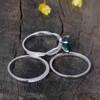 Emerald Cushion Cut Engagement Rings-BBBGEM Cushion Cut Emerald Ring Set White
