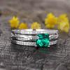 Cushion Cut Emerald Engagement Ring Set 2