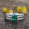 Emerald Wedding Ring Sets-BBBGEM Cushion Cut Emerald Ring Set White