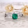 White Gold Emerald Ring-BBBGEM Cushion Cut Emerald Ring Set White