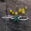 White Gold Emerald Engagement Rings-BBBGEM Cushion Cut Emerald Ring Set White