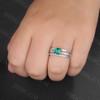 Emerald Diamond Engagement Rings-BBBGEM Cushion Cut Emerald Ring Set White