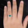 Cushion Cut Emerald Engagement Ring Set 8