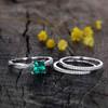 Cushion Cut Emerald Engagement Ring Set 9
