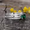 Emerald Engagement Rings-BBBGEM Cushion Cut Emerald Ring Set White