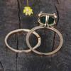 2.5 Carat Emerald Engagement Ring Set Diamond Matching Band Yellow Gold Halo Thin Pave Stacking 14K/18K