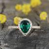 Pear Shaped Emerald Diamond Engagement Ring