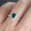 Pear Shaped Emerald Engagement Ring Yellow Gold