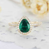 Yellow Gold Pear Shaped Emerald Diamond Engagement Ring