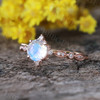 Dreamy Blue Moonstone Engagement Ring Rose gold 06