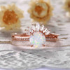 Antique Opal Engagement Ring Set Rose Gold 12