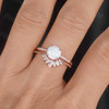 Antique Opal Engagement Ring Set Rose Gold 10