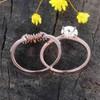 Antique Opal Engagement Ring Set Rose Gold 08