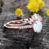 Antique Opal Engagement Ring Set Rose Gold 07
