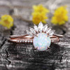 Antique Opal Engagement Ring Set Rose Gold 01