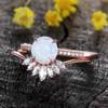 Antique Opal Engagement Ring Set Rose Gold 03