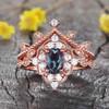 14K/18K  Milgrain Filigree Black Rutilated Quartz Diamond Engagement Rings Wedding Set