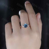 14K/18K Gold Round Alexandrite Diamond/moissanite Three Stone 2pcs Engagement Ring Set