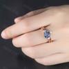Round Faceted Blue Alexandrite Wedding Ring-BBBGEM Alexandrite Ring