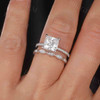 2 Carat Princess Cut Moissanite Engagement Ring Set Rose Gold Accent Diamond