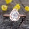 14K/18K Gold Vienna Pear Shaped Moissanite Engagement Ring Halo