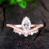 14K/18K Gold Luxe Pear Shaped Moissanite Engagement Ring Art Deco Style