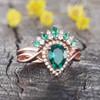 Emerald Diamond Engagement Ring 06