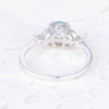 Oval Shaped Aquamarine Engagement Ring White Gold Moissanite Floral Band Promise Ring