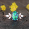 14K/18K  Vintage Black Opal Engagement Ring Moissanite Art Deco Band Promise Jewelry