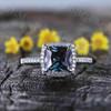 Princess Cut Alexandrite Diamond Engagement Ring 0