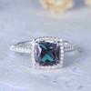 Princess Cut Alexandrite Diamond Engagement Ring 06