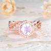 Round Cut Vintage Moonstone Diamond Halo Engagement Ring Set 7mm