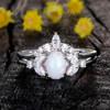 Opal Moissanite Engagement Ring 0
