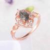 Vintage Black Rutilated Quartz Engagement Ring 06