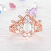 Antique Opal Rings-BBBGEM Opal Diamond Engagement Ring