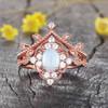 White Opal Ring-BBBGEM Opal Diamond Engagement Ring