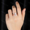 Pear Shaped Engagement Ring 2pcs Rose Gold  Cluster Chevron Wedding Band