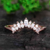 Art Deco Moissanite Wedding Band Marquise Moissanite Ring Stacking Band