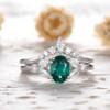 Emerald Engagement Ring Set